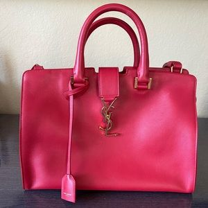YVES SAINT LAURENT CABAS RED TOTE BAG